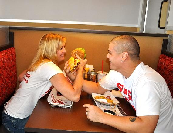 Paula and George Roberts eat at Smashburger on Apache Road in Las Vegas