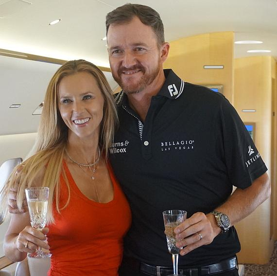 Jimmy Walker and wife Erin toast on private jet to Las Vegas