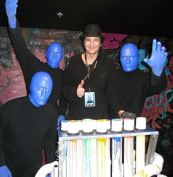 Drummer Terry Bozzio Visits Blue Man Group in Las Vegas