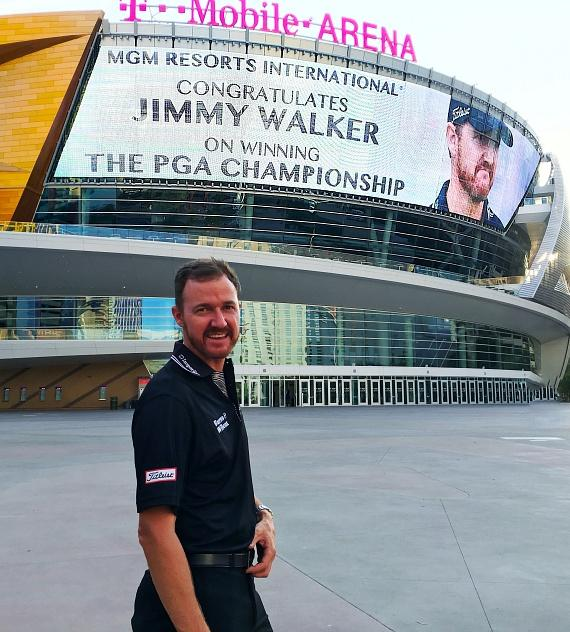 Jimmy Walker receives congratulations message at T-Mobile Arena