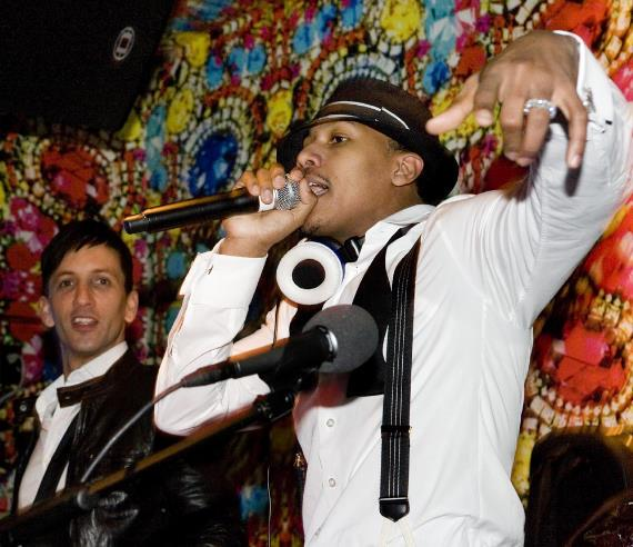 DJ Clinton Sparks and Nick Cannon in the DJ booth at Vanity at Hard Rock-570