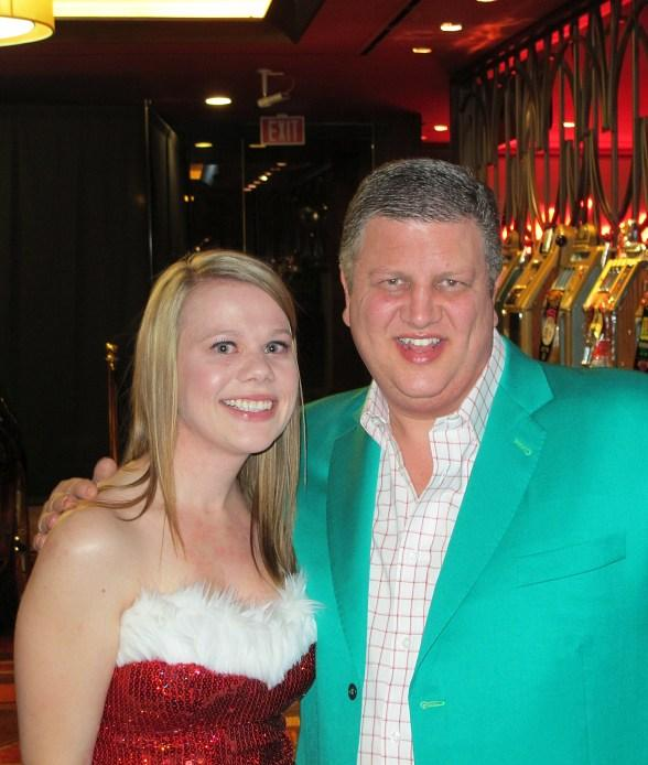 2012 Miss Santa's Helper Jessica Roadhouse with Co-Owner Derek Stevens, Golden Gate Hotel & Casino