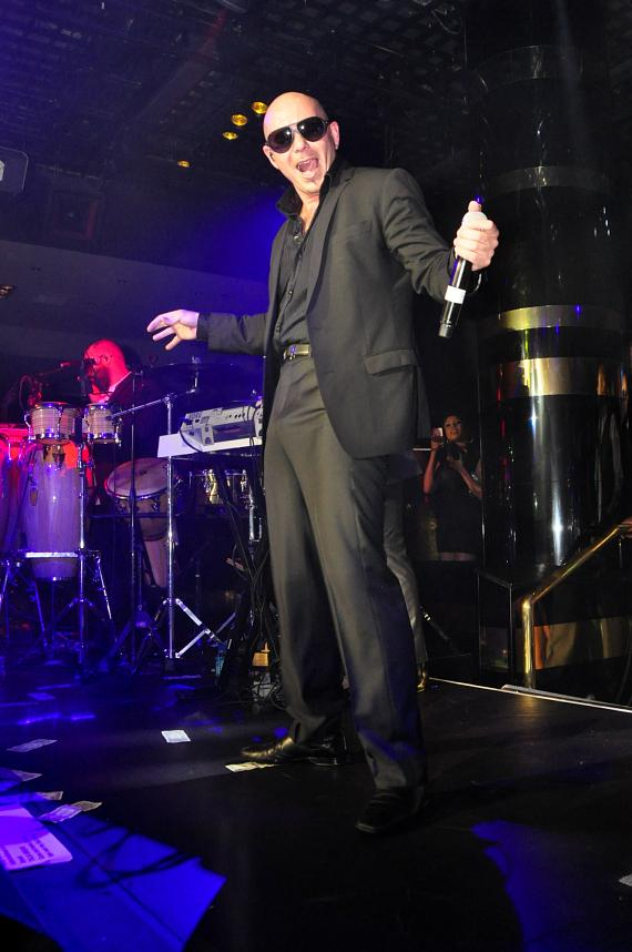 Pitbull performs at 1 OAK Nightclub at The Mirage