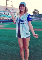 Server-Model Ysela of Rehab Beach Club Throws Ceremonial First Pitch at Las Vegas 51s Game
