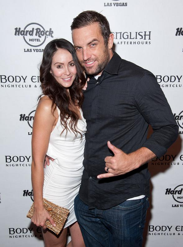 T.J. Lavin and wife Roxanne Lavin arrive at Body English Nightclub at Hard Rock Hotel Las Vegas