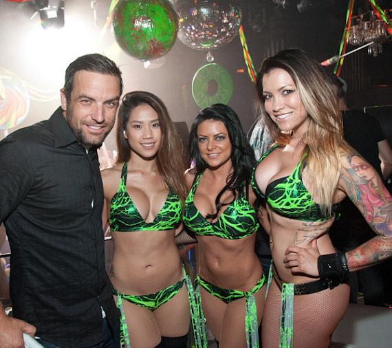 T.J. Lavin and cocktail servers at Body English Nightclub at Hard Rock Hotel Las Vegas
