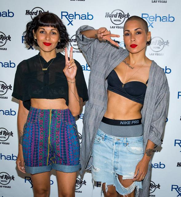 R&B duo Nina Sky perform at REHAB Pool Party at Hard Rock Hotel & Casino