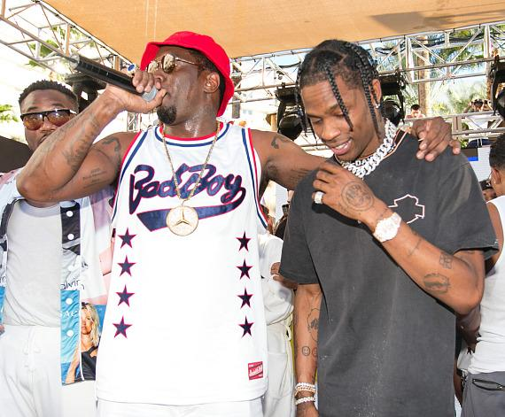 Puff Daddy with Travis Scott at Rehab on Fight Weekend