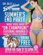 "Sapphire Pool & Day Club's ""Summer's End Party"" and Music Video Shoot Sept. 27"