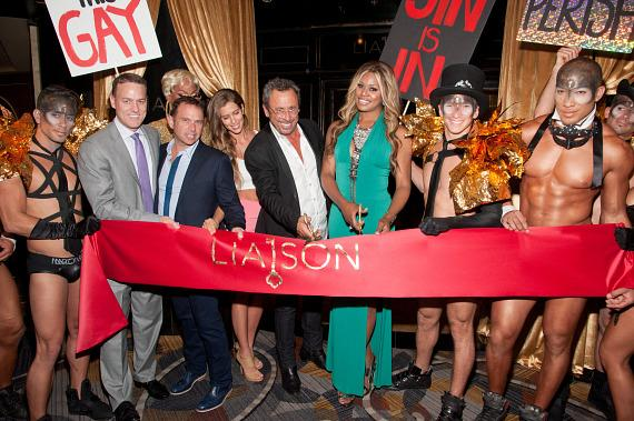 Laverne Cox and Victor Drai at ribbon cutting ceremony