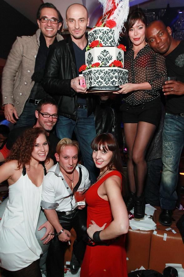 "(front row with cake, L to R) Paris Red (singer), Renee Pugh (dancer), Candi Kirtz (dancer), Agnes Roux (dancer), Todd Hanebrink (""Two Men"" act), Will Credell (""Two Men"" act)"