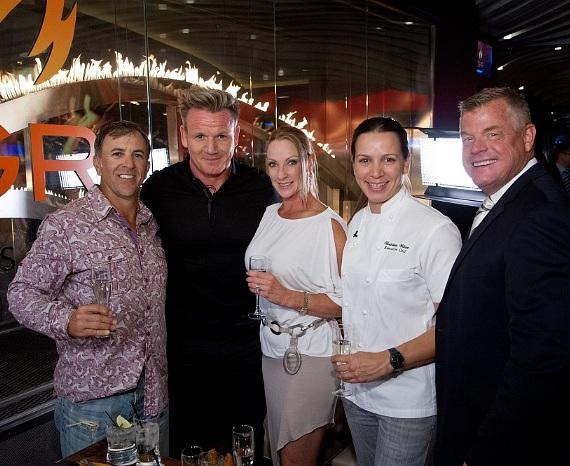 The one millionth burger recipients pose with Gordon Ramsay, Executive Chef Christina Wilson and Planet Hollywood Resort & Casino Regional President David Hoenemeyer at Gordon Ramsay BurGR