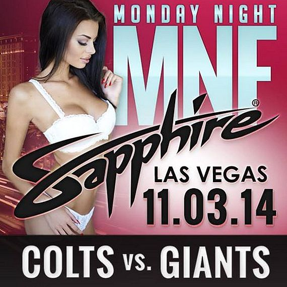 Watch Colts vs. Giants on Monday Night Football at Sapphire Las Vegas with 100's of Sapphire Cheerleaders Nov. 3