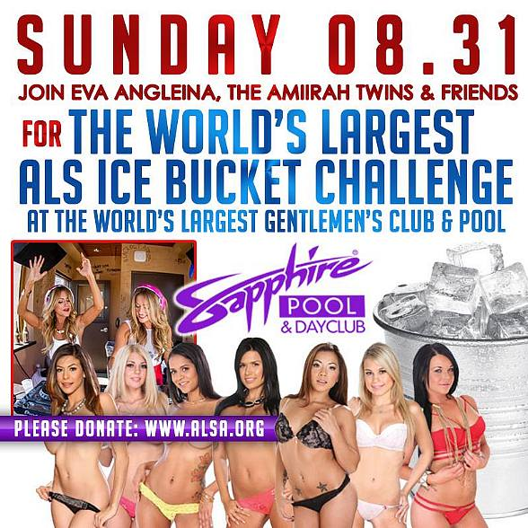 Join Eva Angelina and Amiirah Twins for World's Largest ALS Ice Bucket Challenge at Sapphire Pool & Dayclub Sunday Aug. 31