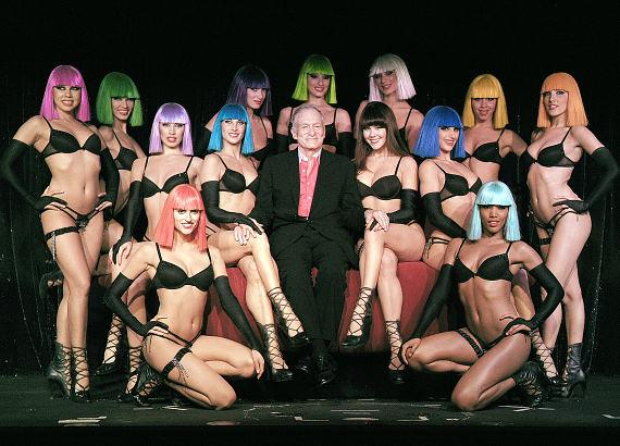Hugh Hefner with cast of Crazy Horse Paris