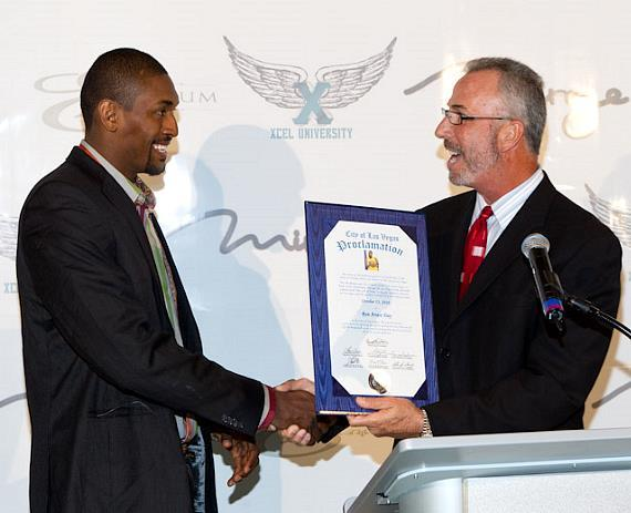 L.A. Lakers' Ron Artest receives proclamation from City Councilman Steve Wolfson