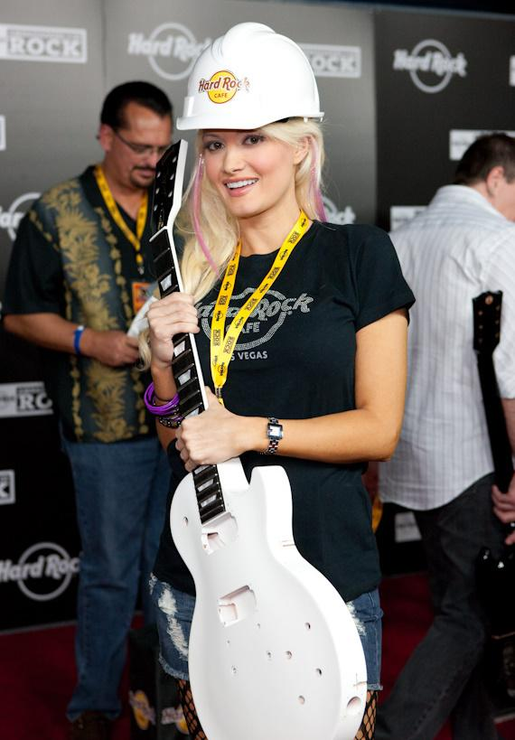 Holly Madison ready to smash a guitar