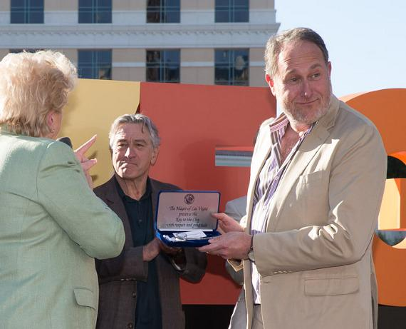 Mayor Carolyn Goodman, Robert De Niro and Director Jon Turteltaub