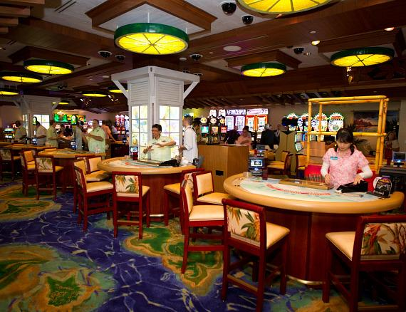 The main gaming pit just moments before the Margaritaville Casino opened for the first time