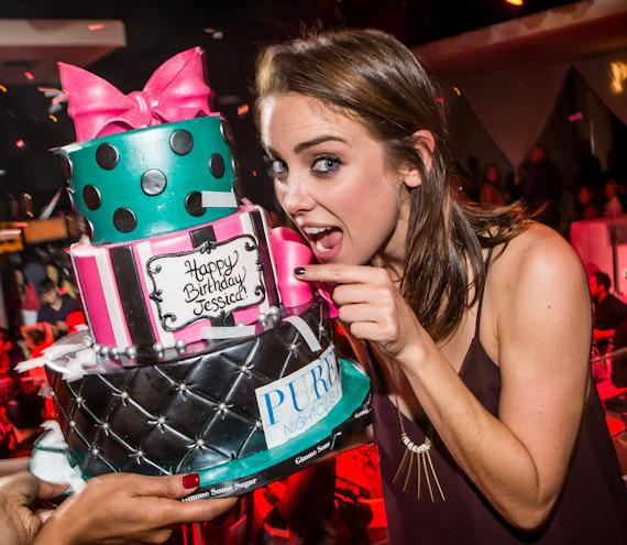 '90210' Starlet Jessica Stroup with Birthday cake at PURE Nightclub