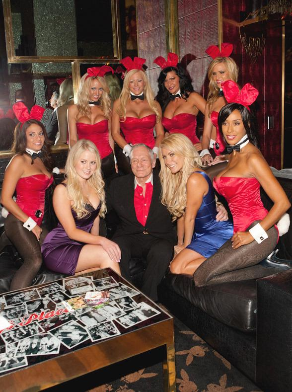 Hugh Hefner with Anna Sophia Berglund, his girlfriend Crystal Harris and Playboy bunnies