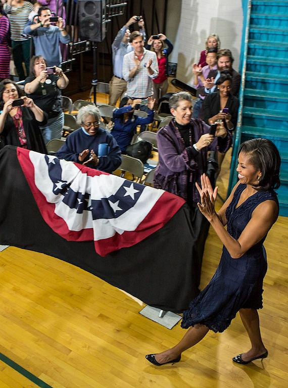 Michelle Obama enters Orr Middle School Gymnasium in Las Vegas