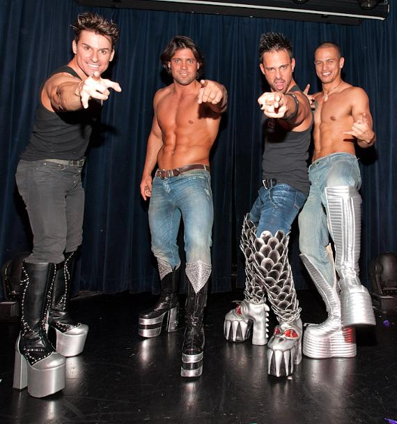 The Men of Australia's Thunder From Down Under wear the Official KISS Boots in Las Vegas