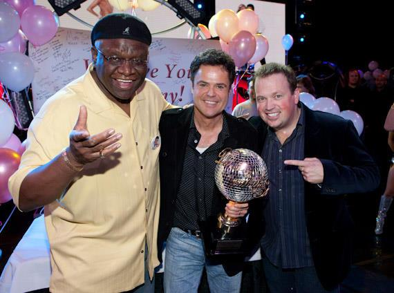 Fellow Flamingo entertainers George Wallace and Nathan Burton congratulate Donny