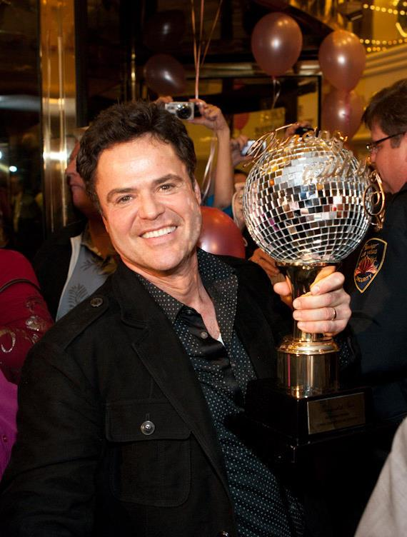 Donny Osmond with his Dancing With The Stars trophy