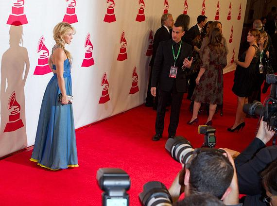 Shakira with photographers on red carpet