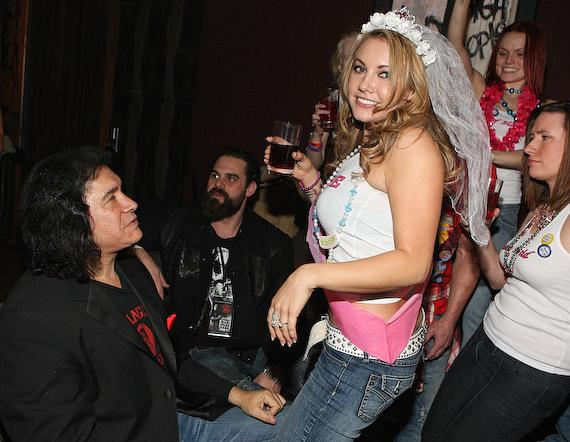 Gene Simmons with bachlorette party at the Hard Rock Hotel & Casino's Wasted Space