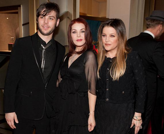 Priscilla Presley with son Navarone Garibaldi and daughter Lisa Marie Presley
