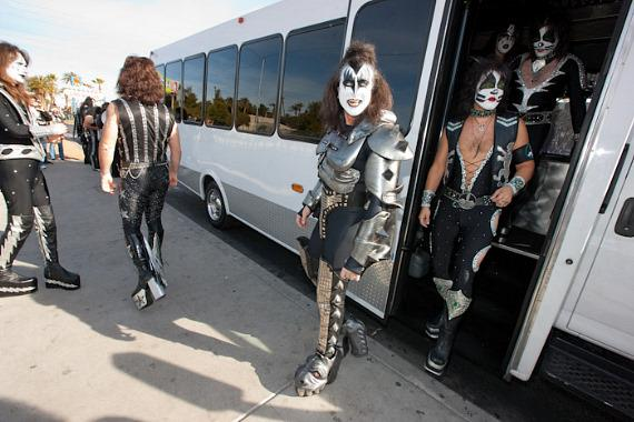KISS tribute bands exit the bus