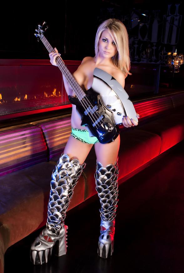 Star of Absinthe, Angel Porrino, reveals the sensual side of the official KISS boots that are currently touring Las Vegas in celebration of the upcoming opening of KISS by Monster Mini Golf.