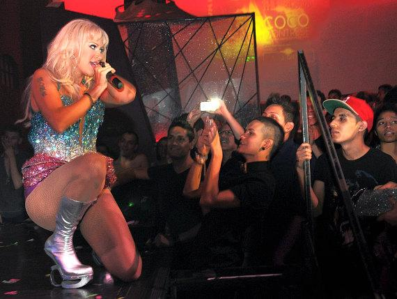 Former Pussycat Doll Kaya Jones with fans at Krave Nightclub