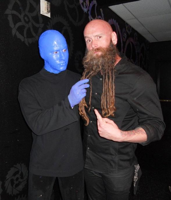 Musicians Chris Kael and Frank Sidoris Attend Blue Man Group at Monte Carlo Resort and Casino