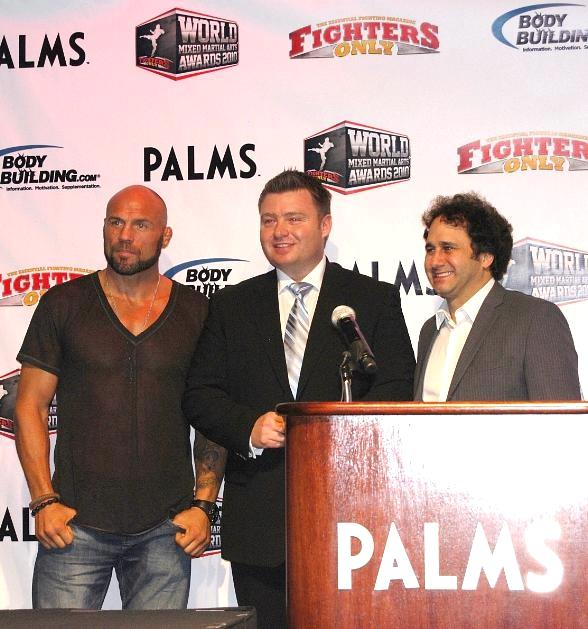 """Co-host Randy """"The Natural"""" Couture, President and CEO of Fighters Only Rob Hewitt and Palms Casino Resort Owner George Maloof"""