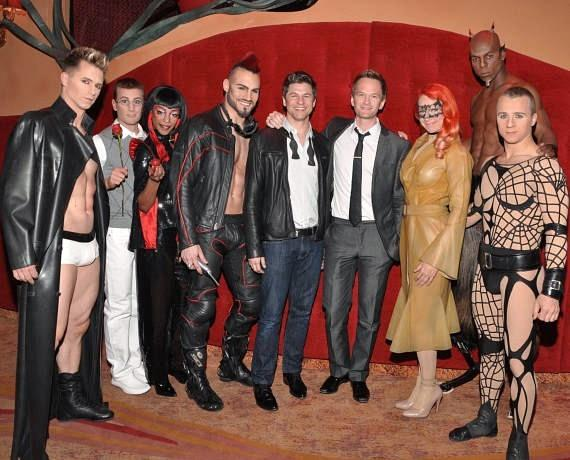 Neil Patrick Harris & David Burtka with the cast of Zumanity – The Sensual Side of Cirque du Soleil at New York-New York Hotel & Casino