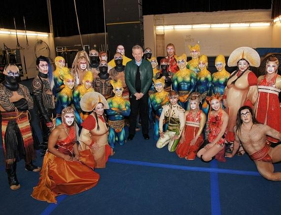 Jean Paul Gaultier backstage with the cast of KÀ by Cirque du Soleil at MGM Grand Las Vegas
