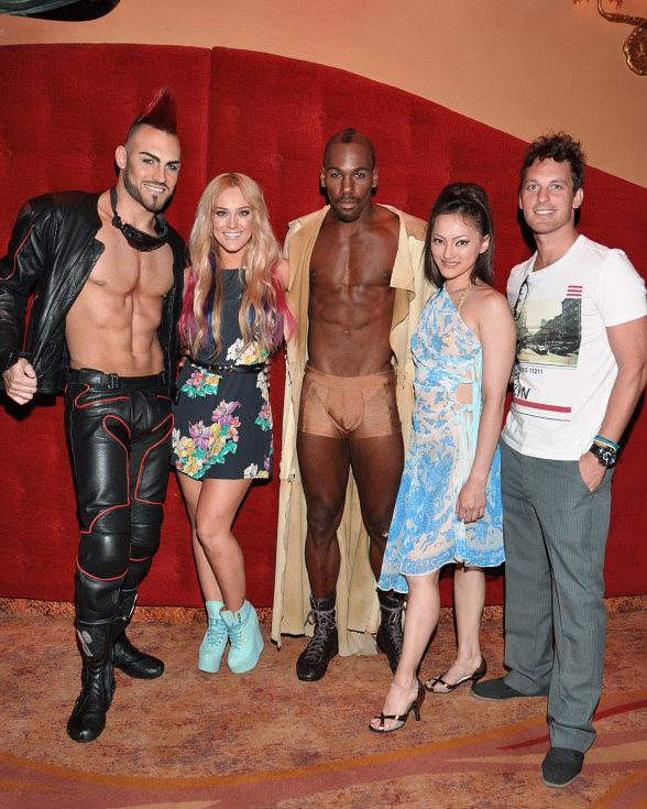 Lacey Schwimmer and Tristan MacManus with the cast of Zumanity – The Sensual Side of Cirque du Soleil at   New York-New York Hotel & Casino