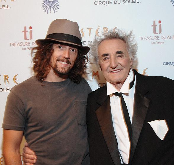 Jason Mraz and clown Brian Dewhurst at Mystère by Cirque du Soleil at Treasure Island Las Vegas