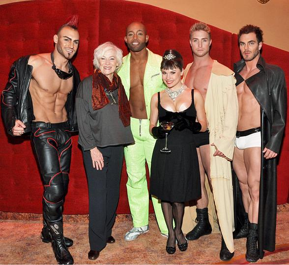 Betty Buckley with cast members from Zumanity, The Sensual Side of Cirque du Soleil
