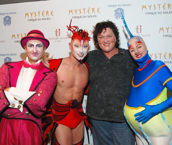 Dot Jones and members of the cast of Mystère by Cirque du Soleil at Treasure Island Las Vegas
