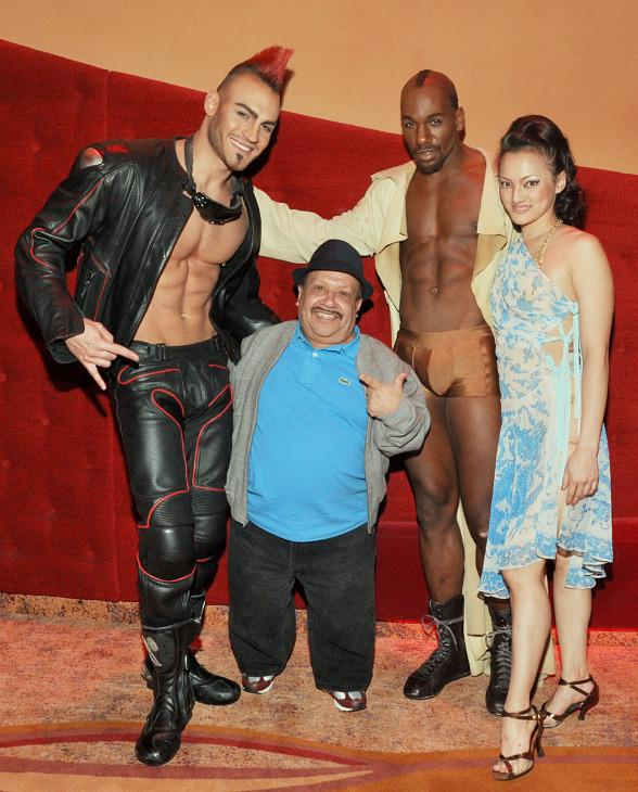 Chuy Bravo with cast members from Zumanity, The Sensual Side of Cirque du Soleil at New York-New York Hotel & Casino Las Vegas