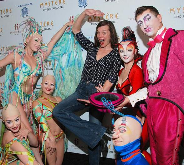 Milla Jovovich Enjoys Mystère by Cirque du Soleil at Treasure Island Las Vegas