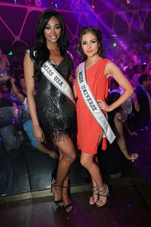 Reigning Miss USA Nana Meriwether and Miss Universe Olivia Culpo Party at Hakkasan Las Vegas
