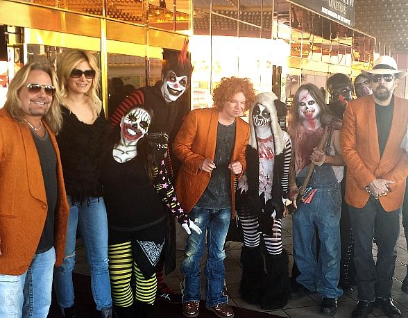 Vince Neil, Carrot Top and Nicolas Cage with zombies and ghouls at Fright Dome at Circus Circus