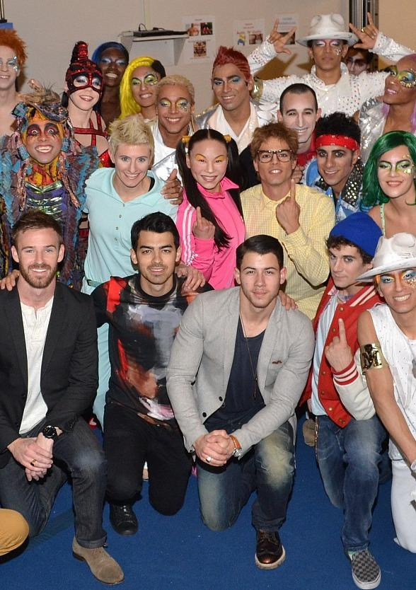 Nick & Joe Jonas and the cast of Michael Jackson ONE by Cirque du Soleil at Mandalay Bay Resort and Casino