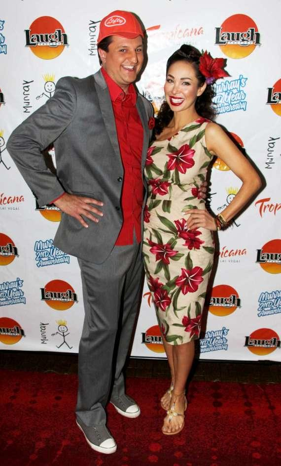 Douglas 'Lefty' Leferovich with Burlesque star Kalani Kokonuts at Tropicana Las Vegas.