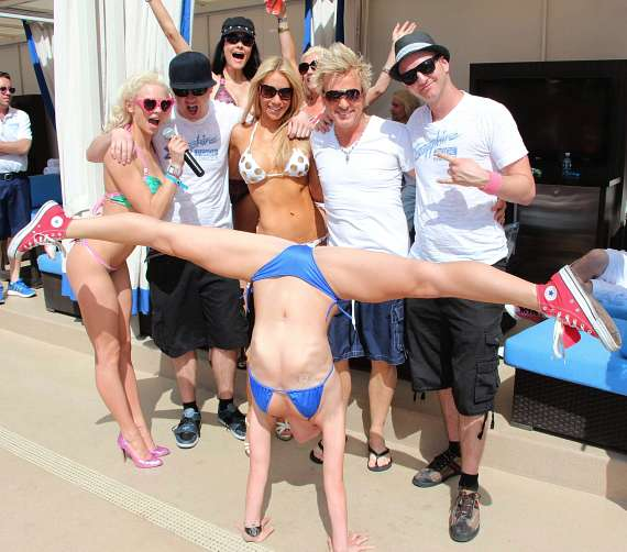 Dancer performs at Sapphire Pool & Dayclub with Chloe, Host, (Rear) Maria Gara, Lydia, (rear) Colie, Chris, Host